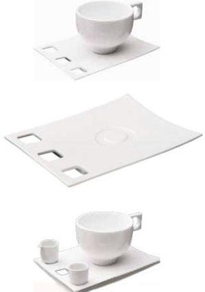 ZIEHER ConFinesse Блюдце прямоугольное 17х13,5 см для чашек (арт. 4242.O, 4247.O, 4248.O), фарфор