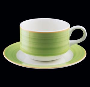 Блюдце круглое, борт- зеленый d=13 см., для чашки 9cl, фарфор