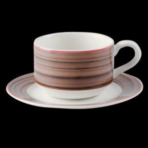 Блюдце круглое, борт- коричневый d=13 см., для чашки 9cl, фарфор