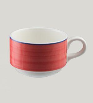 Чашка круглая,цвет красный 23 cl., фарфор