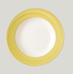 Тарелка круглая, борт — желтый d=27 см., плоская, фарфор