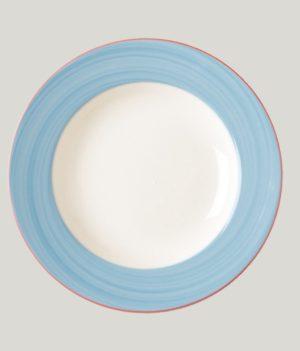 Тарелка круглая, борт-голубой d=15 см., плоская, фарфор