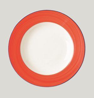 Тарелка круглая, борт-красный d=15 см., плоская, фарфор