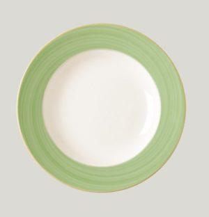 Тарелка круглая, борт- зеленый d=15 см., плоская, фарфор