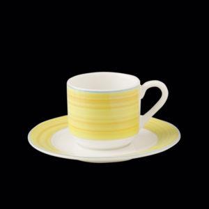 Блюдце круглое, борт- желтый d=13 см., для чашки 9cl, фарфор