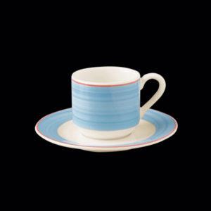 Блюдце круглое, борт- голубой d=13 см., для чашки 9cl, фарфор