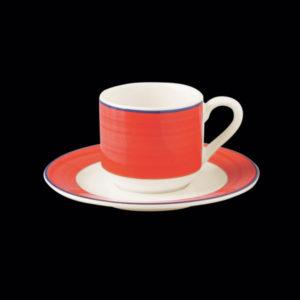 Блюдце круглое, борт- красный d=13 см., для чашки 9cl, фарфор