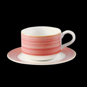 Блюдце круглое, борт красно-коричневый d=13 см., для чашки 9cl, фарфор