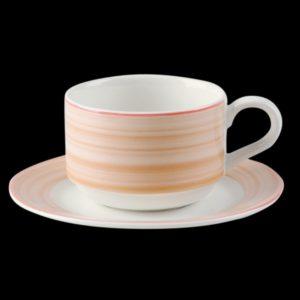 Блюдце круглое, борт светло-коричневый d=13 см., для чашки 9cl, фарфор