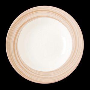 Тарелка круг. светло-корич. 23 см., глуб., фарфор