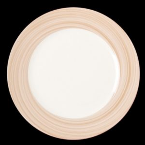 Тарелка круглая, борт светло-коричневый d=15 см., плоская, фарфор