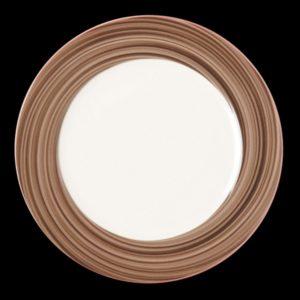 Тарелка круглая, борт- коричневый d=15 см., плоская, фарфор